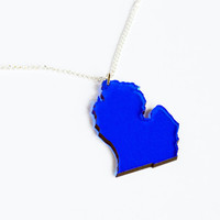 Transparent blue laser cut acrylic Michigan state pendant charm necklace on delicate silver or gold curb chain