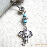 Turquoise Belly Button Ring - Beaded Tribal Elephant Belly Ring Dangle, Navel Body Jewelry