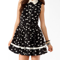 Pleated Ditsy Bow Shirtdress