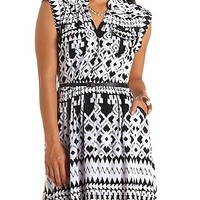 IKAT PRINT BELTED TAB SLEEVE SHIRT DRESS