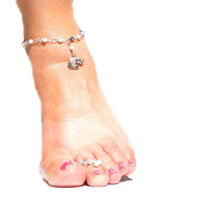 White Pearls Anklet With Cute Elephant, Summer Fashion, Women, Gift, Pearl Bangle
