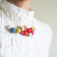 """Colorful spring necklace - beads necklace- minimalist dainty jewelry """" Round and round"""""""