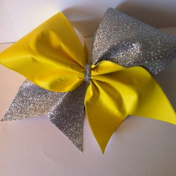 Yellow and Silver Glitter Cheerleading Bow