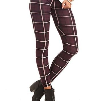 Cotton Plaid Leggings by Charlotte Russe - Purple Combo