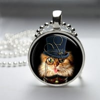 Round Glass Pendant Bezel Pendant Cat Pendant Steampunk Cat Necklace Photo Pendant Art Pendant With Silver Ball Chain (A3880)