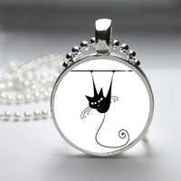 Round Glass Pendant Bezel Pendant Cat Pendant Black Cat Necklace Photo Pendant Art Pendant With Silver Ball Chain (A3881)