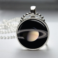 Round Glass Pendant Bezel Pendant Planet Pendant Planet Necklace Photo Pendant Art Pendant With Silver Ball Chain (A3882)