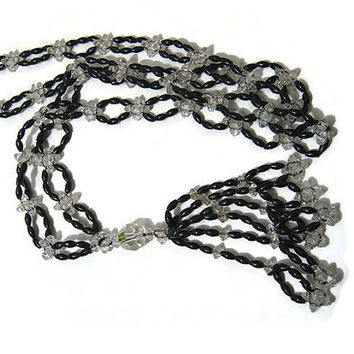 30 Inch Long Black and Clear Vintage Flapper Beaded Tassel Necklace