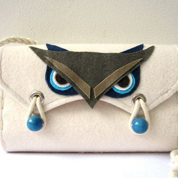 Felt Bag Owl White, Blue, Navy, Gray and Beige