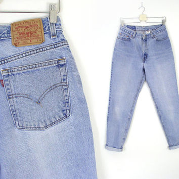 "Vintage High Waist Levi's 512 Slim Fit Tapered Jeans - Women's Stone Washed 80s 90s Faded Blue Denim Boyfriend Jeans - Size 12 -13 30"" Waist"