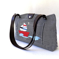 Nautical Tote Bag, Navy White Stripes Tent Canvas Fabric and Leather Straps, Nautical Theme