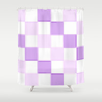 Lavender & White 3D Squares Shower Curtain by 2sweet4words Designs