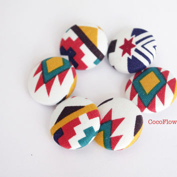 6 Buttons Aztec motif fabric button multicolored