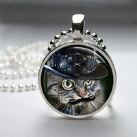 Round Glass Pendant Bezel Pendant Cat Pendant Steampunk Cat Necklace Photo Pendant Art Pendant With Silver Ball Chain (A3887)