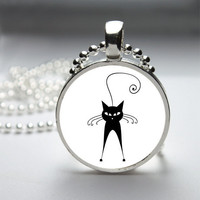 Round Glass Pendant Bezel Pendant Cat Pendant Black Cat Necklace Photo Pendant Art Pendant With Silver Ball Chain (A3885)