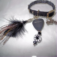 Biker Bracelet- Guitar Pick, Motorcycle Charm, Feathers, Studs, Tribal Beads -OOAK Jewelry
