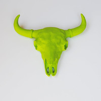 The Arthur - Neon Green Resin Buffalo/Bison Skull Head- White Faux Taxidermy- Chic &amp; Trendy
