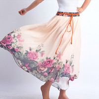 floral chiffon long maxi skirt (0089)