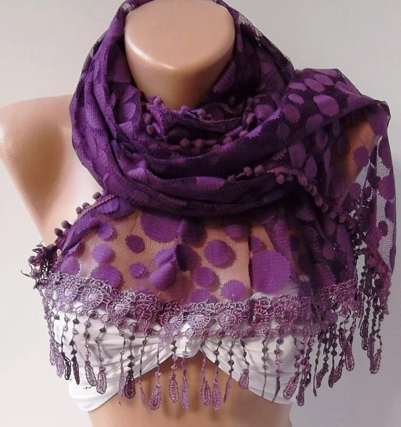 Purple  - Elegance  Shawl - Scarf with Lacy Edge-