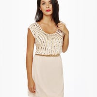 Lovely Cream Dress - Sequin Dress - Beige Dress - $76.00