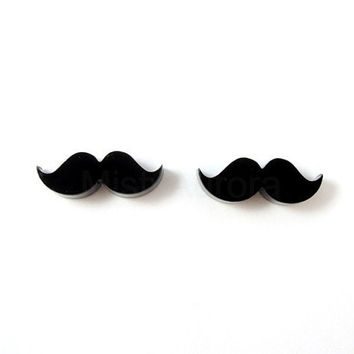 Mustache Earrings Black Studs Moustache Movember Awareness Free Shipping