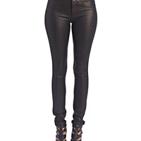 High Waisted Coated Jeggings | Wet Seal
