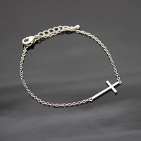SIDEWAYS CROSS bracelet in silver by bythecoco on Zibbet
