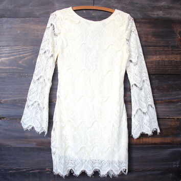 romantic bohemian style crochet lace dress - cream boho chic dress victontage rian vinspired