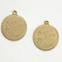 Raw Brass Happy Birthday Charm, Bracelet Charm, Stamping 20m x 22mm - 2 pcs. (r276)