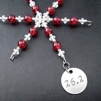 26.2 Half Marathon Ornament - Round Pewter 26.2 Pendant Dangling from a Hand Beaded Snowflake Ornament - Choose your Color