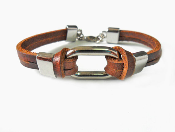 Jewelry bangle leather bracelet  buckle bracelet men bracelet made of alloy and brown leather cuff bracelet   SH-1696