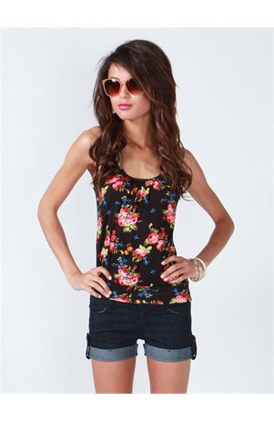 A'GACI Lace Panel Rose Bouquet Tank - Tops