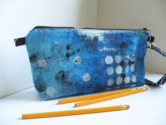 Blue Canvas Pouch OOAK - outer pocket - 3 open and one zippered inner pocket - DOTS