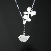 Orchid and Bird Necklace - Silver orchid flowers with bird necklace, Sterling Silver chain available