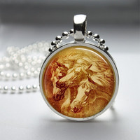 Round Glass Pendant Bezel Pendant Horse Pendant Horse Necklace Photo Pendant Art Pendant With Silver Ball Chain (A3891)