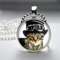 Round Glass Pendant Bezel Pendant Cat Pendant Steampunk Cat Necklace Photo Pendant Art Pendant With Silver Ball Chain (A3892)