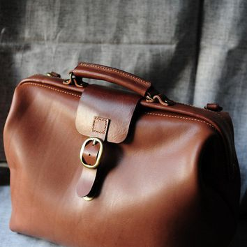 Hand Stitched Brown Leather Doctor Bag/ Carry On Bag
