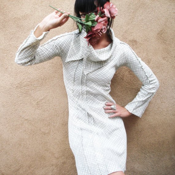 Snow Vision - iheartfink Handmade Hand Printed Artistic Dramatic Cowl Mini Dress