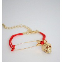 Safety Pin Skull Red Bracelet
