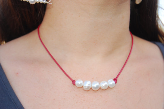 Freshwater Pearl and Pink Leather Necklace