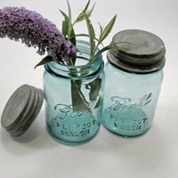 Vintage Blue Mason Jars Two Pint Jars with Zinc Lids