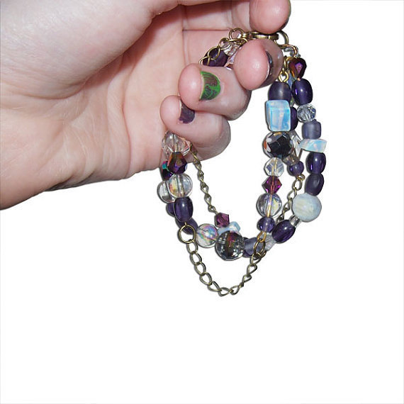 Purple and Clear Glass and Crystal Beaded and Chainlink Bracelet (child/teen/small adult bracelet)