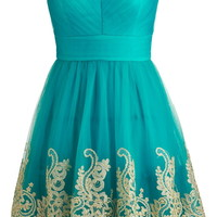 Teal Paradise Dress | Strapless Green Embroidered Prom Dresses | Rickety Rack