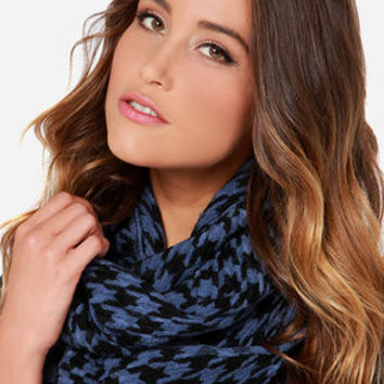 Young and Restless Blue Houndstooth Infinity Scarf