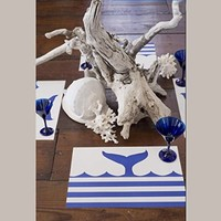 Marine Whale Tail with Nautical Blue Stripes - Disposable Paper Placemats - Pad of 50