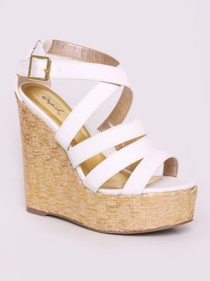 Qupid Katrina-17 Strappy Metallic Wedge @ FrockCandy.com