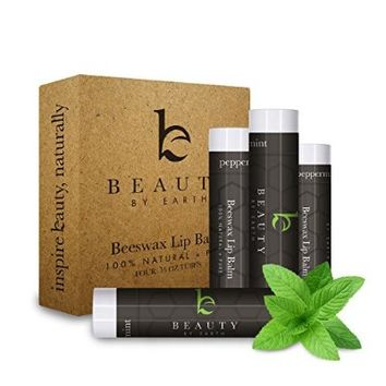 Beauty by Earth LIP BALM ★ 100% Natural Beeswax Peppermint Lip Care with Shea Butter, Vitamin E, Cocoa Butter - Long Lasting, Moisturizing Repair for Dry and Chapped Lips. No Toxic Ingredients ★ Made in the USA. 4 PACK!