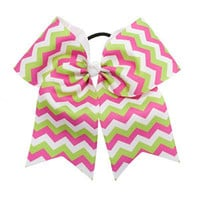 Large Hot Pink, Lime Green & White Chevron Hair Bow
