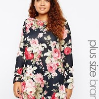 Club L Plus Size Swing Dress In Floral Paper Print