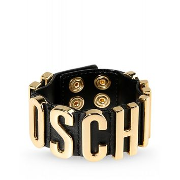 Moschino Leather Logo Bracelet - Black Leather Bracelet - ShopBAZAAR